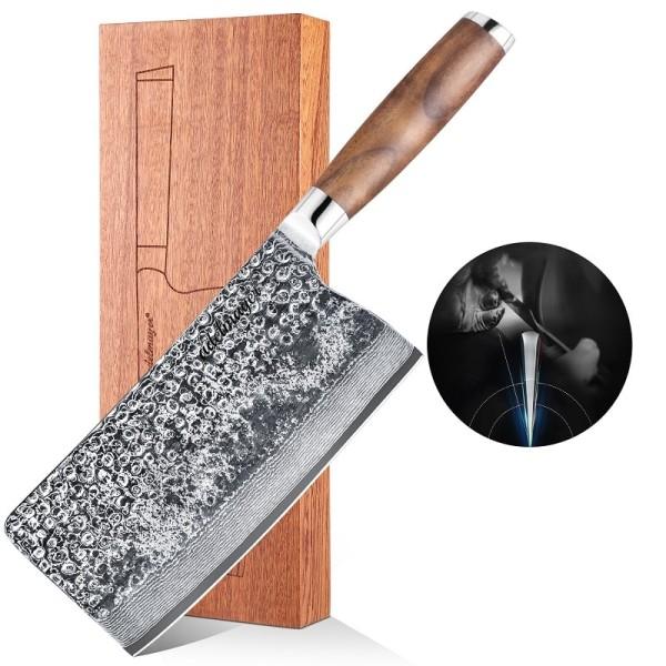 Adelmayer Damast Hackmesser 18,3 cm handgeschliffen mit Holzkiste und Walnussgriff